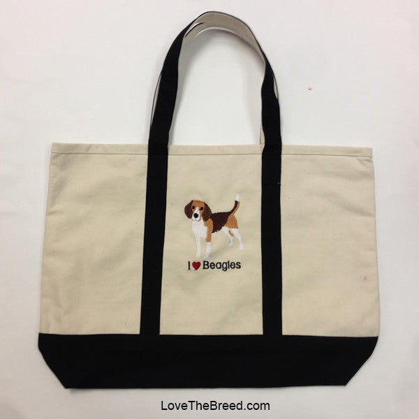 I Love Beagles Canvas Tote