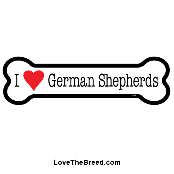 I Love German Shepherd Bone Magnet
