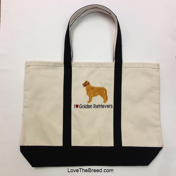 I Love Golden Retrievers Canvas Tote