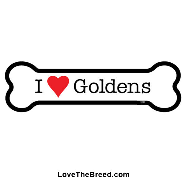 I Love Goldens Bone Magnet
