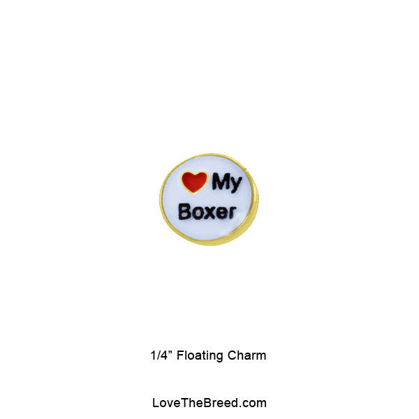 I Love My Boxer Floating Charm