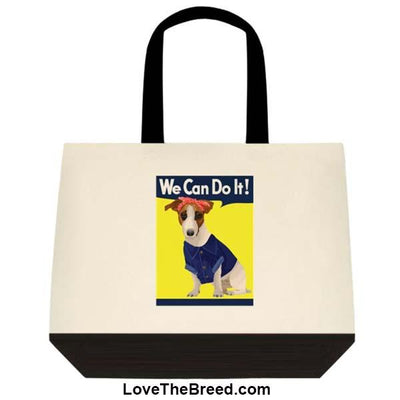 Jack Russell Rosie the Riveter We Can Do It Extra Large Tote