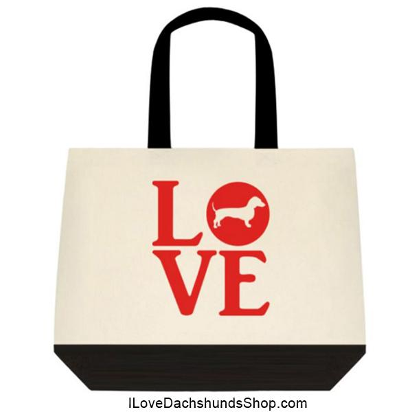 Dachshund LOVE in a WORD Extra Large Tote
