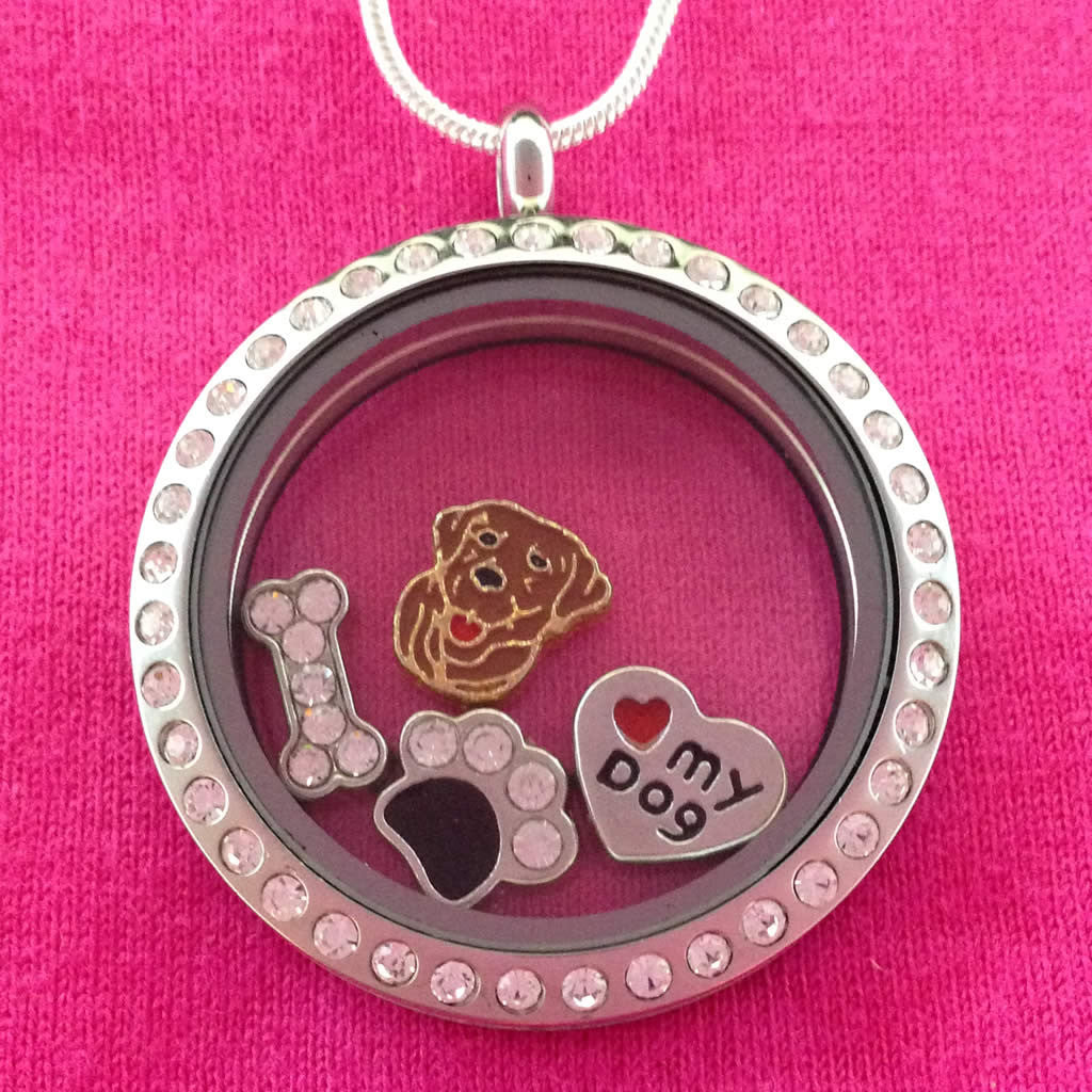 Black Labrador Retriever Charm Locket Necklace