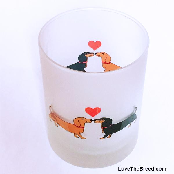 Dachshund Long on Love Drinking Glasses Frosted 14 oz