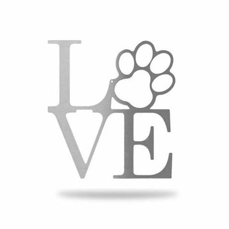 Love Dog Paw Steel Sign