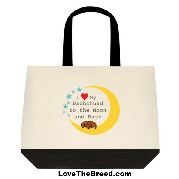 Dachshund Love to the Moon and Back Extra Large Tote