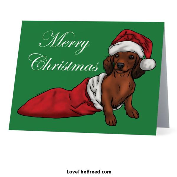 Merry Christmas Dachshund Brown Card - with Envelope