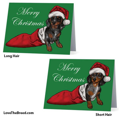 Merry Christmas Dachshund Dapple Card - with Envelope