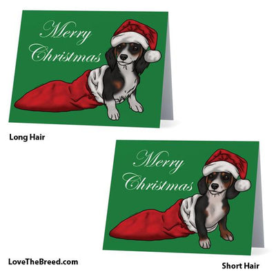 Merry Christmas Dachshund Piebald Card - with Envelope