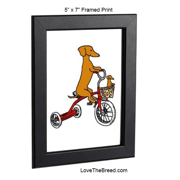 Dachshund Mom and Baby Bike Ride Framed Print 5 x 7