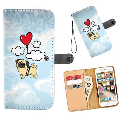 Cell Phone Wallet Cases PUG Heart Balloon Up Up and Away
