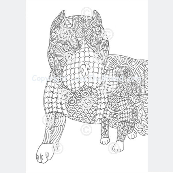 Pit Bull Pibble Coloring Book For Adults And Children