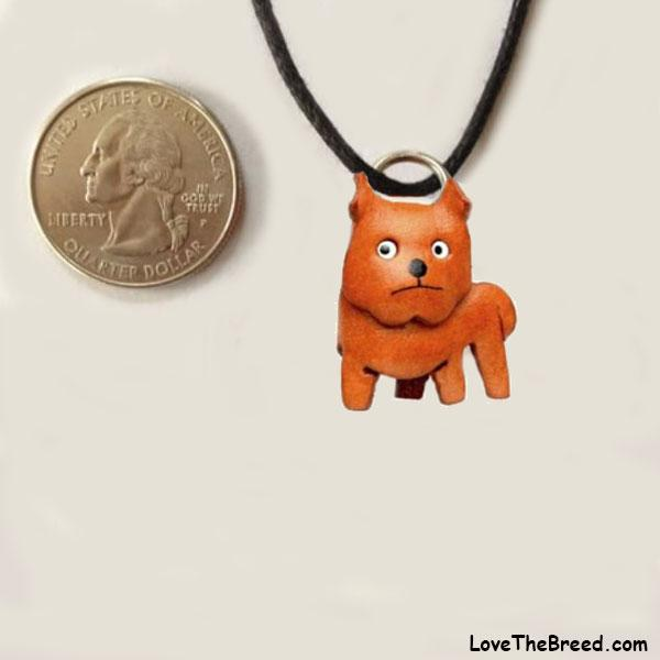 Pit Bull Leather Charm Necklace