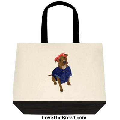 Pit Bull Rosie the Riveter DOG Extra Large Tote