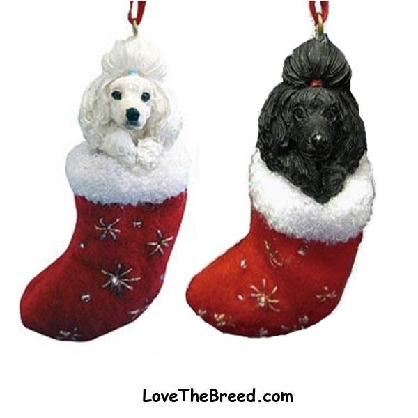 Poodle Holiday Ornament in Stocking - LoveTheBreed.com
