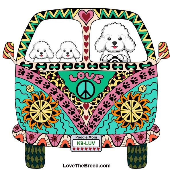 Poodle White Love Bus Extra Large Tote