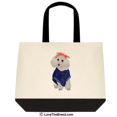 Poodle White Rosie the Riveter DOG Extra Large Tote