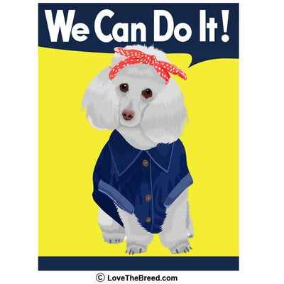 Poodle White Rosie the Riveter We Can Do It Extra Large Tote