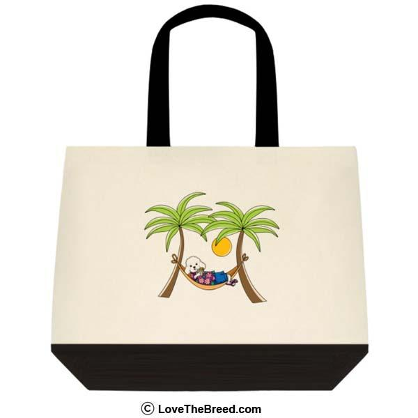 Poodle White in Hammock Extra Large Tote