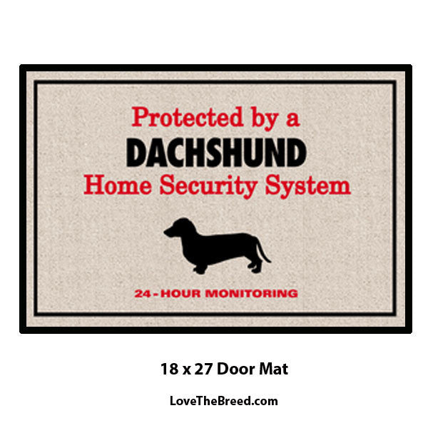 Protected by Dachshund Security Door Mat