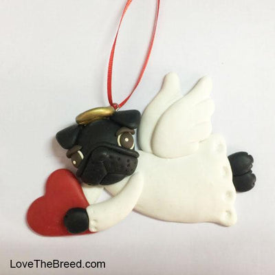 Pug Angel Ornament Handmade Collectible