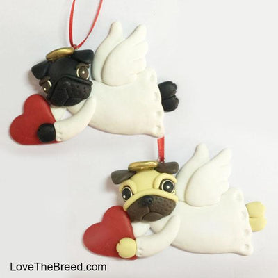 Pug Angel Ornament Handmade