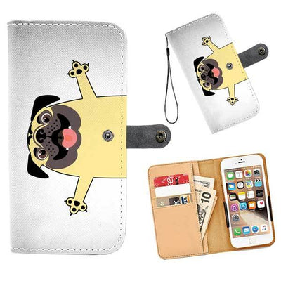 Cell Phone Wallet Cases PUG Happy