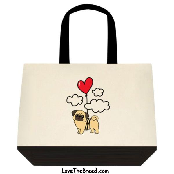 Pug Up Up and Away Heart Balloon Extra Large Tote