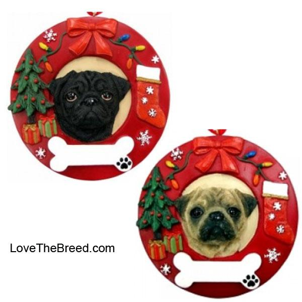 Pug Wreath Ornament - You Can Personalize