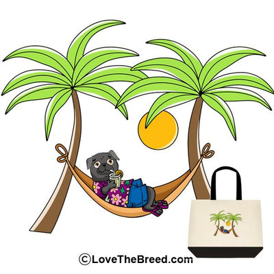 Pug Black in Hammock Extra Large Tote