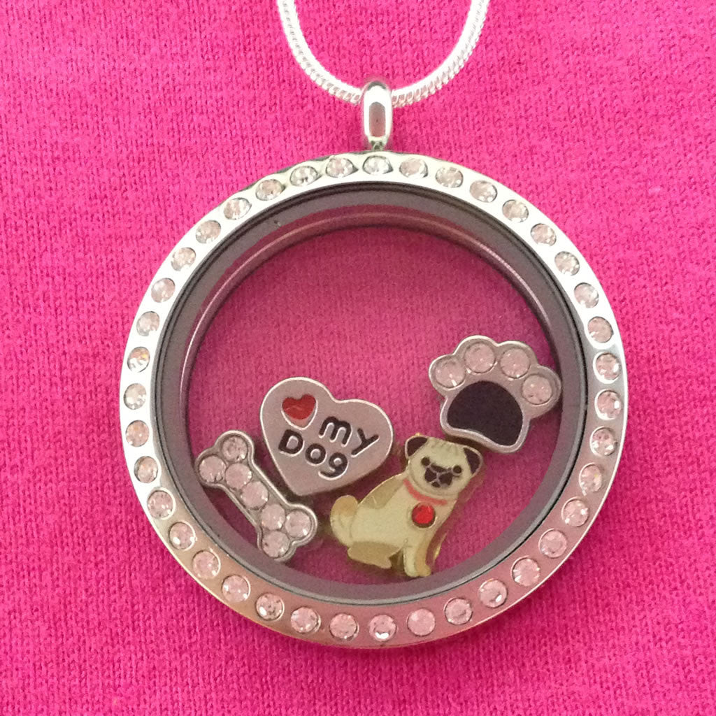 pug floating charm locket necklace circle with crystals