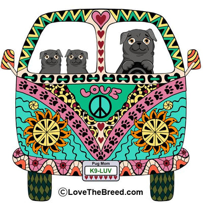 Pugs Love Bus Black Dogs Extra Large Tote