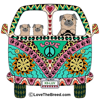 Pugs Love Bus Tan Dogs Extra Large Tote