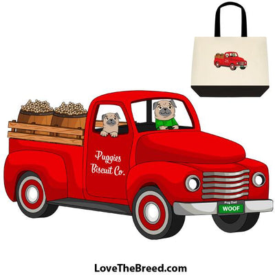 Pug Tan Biscuit Truck Extra Large Tote