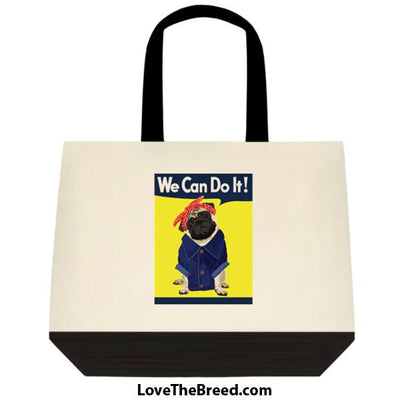 Pug Tan Rosie the Riveter We Can Do It Extra Large Tote
