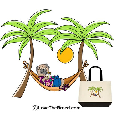 Pug Tan in Hammock Extra Large Tote