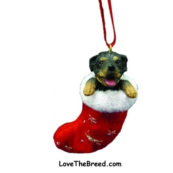 Rottweiler Holiday Ornament in Stocking