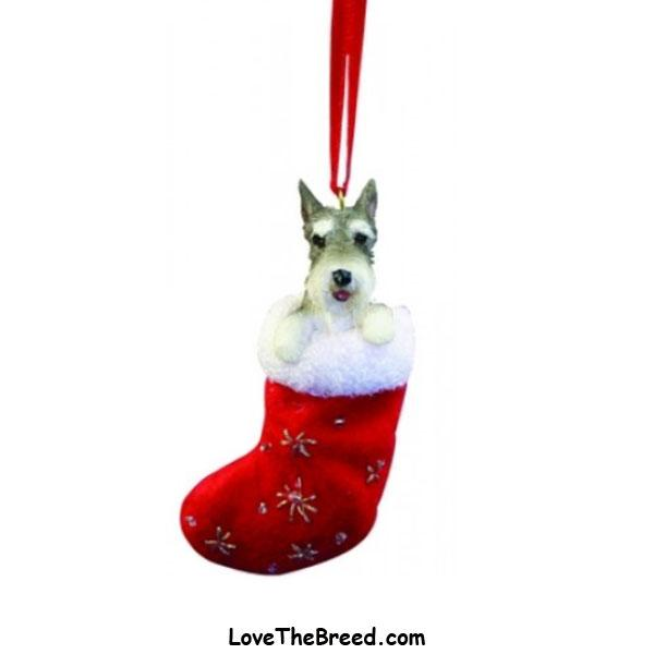 Schnauzer  Holiday Ornament in Stocking