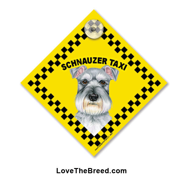Schnauzer Taxi Car Sign