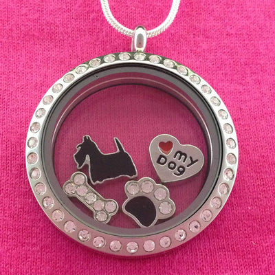 Scottish Terrier - Scottie Floating Charm Locket Necklace - Circle with Crystals