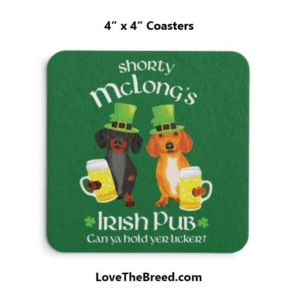 Dachshund Shorty McLong's Irish Pub Coasters