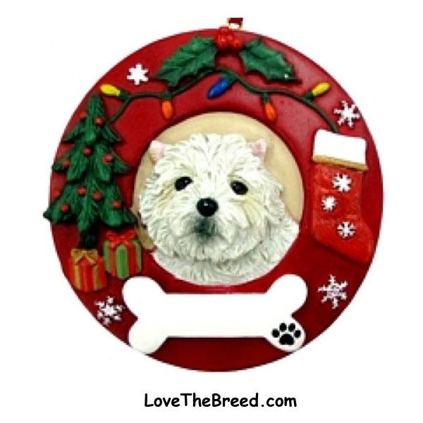 West Highland Terrier Wreath Ornament - You Can Personalize