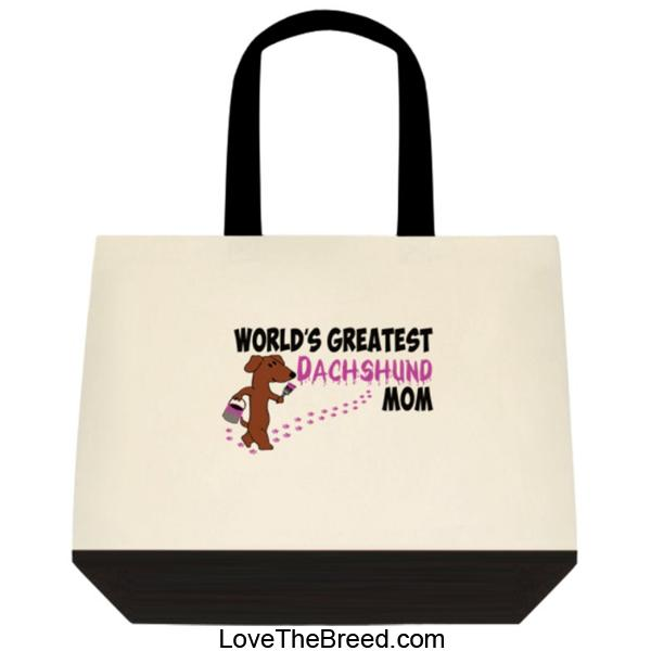 Dachshunds World's Greatest Dachshund Mom Extra Large Tote