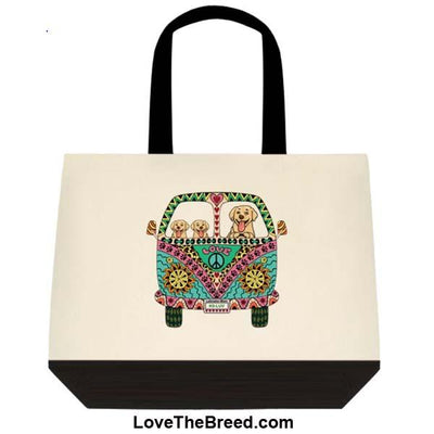 Yellow Labrador Love Bus Extra Large Tote