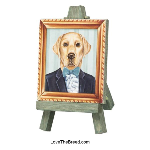Yellow Labrador Mini Portrait on and Easel