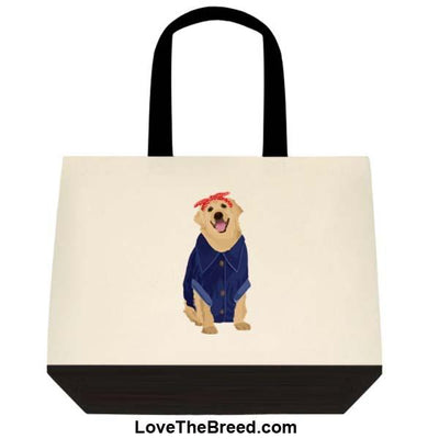 Yellow Labrador Rosie the Riveter DOG Extra Large Tote