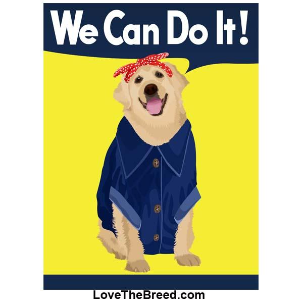 Yellow Labrador Rosie the Riveter We Can Do It Extra Large Tote
