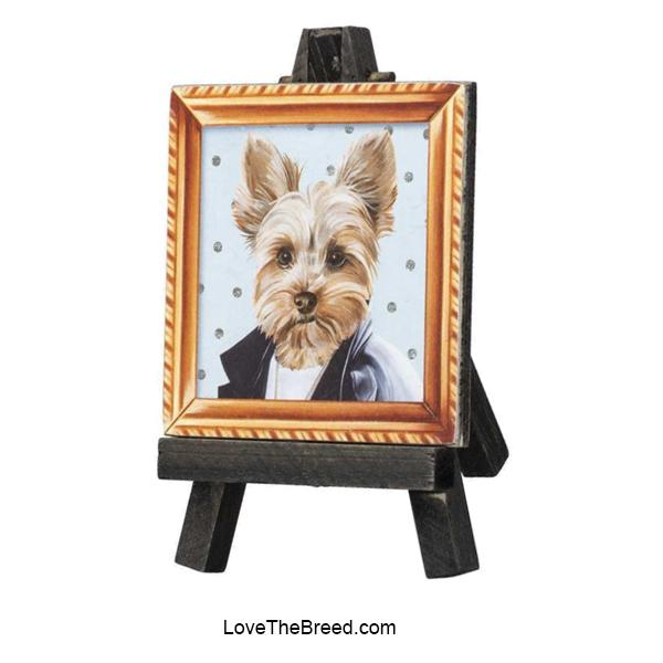 Yorkie Mini Portrait on and Easel