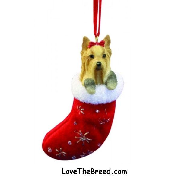 Yorkshire Terrier Holiday Ornament in Stocking